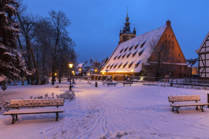 Great Mill in Gdansk in winter, northern Poland
