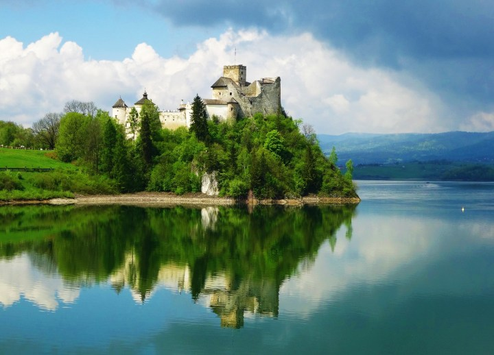 Scenic Niedzica Castle by Dunajec River, located in the southernmost part of Poland
