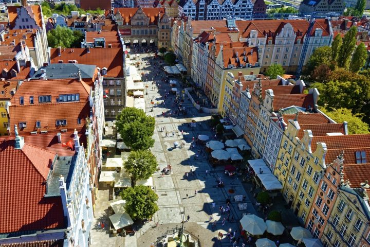 Spectacular historical residences in Old Market in Gdańsk, northern Poland