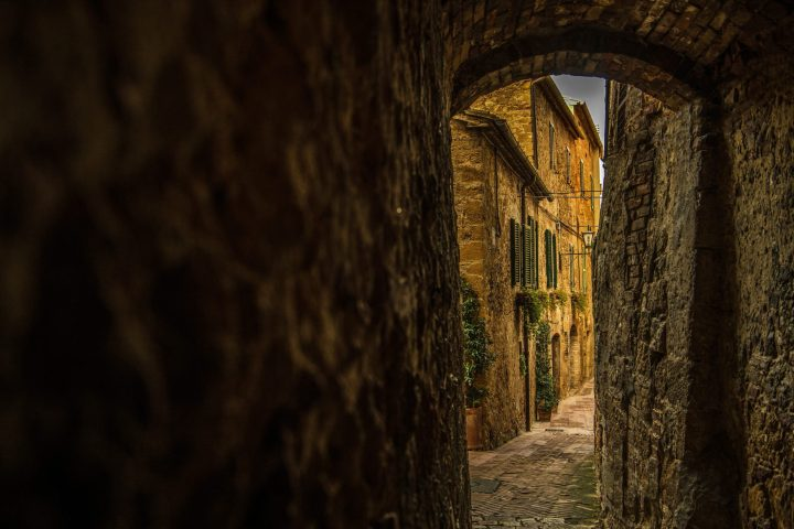 Secret passages in Pienza in Tuscany