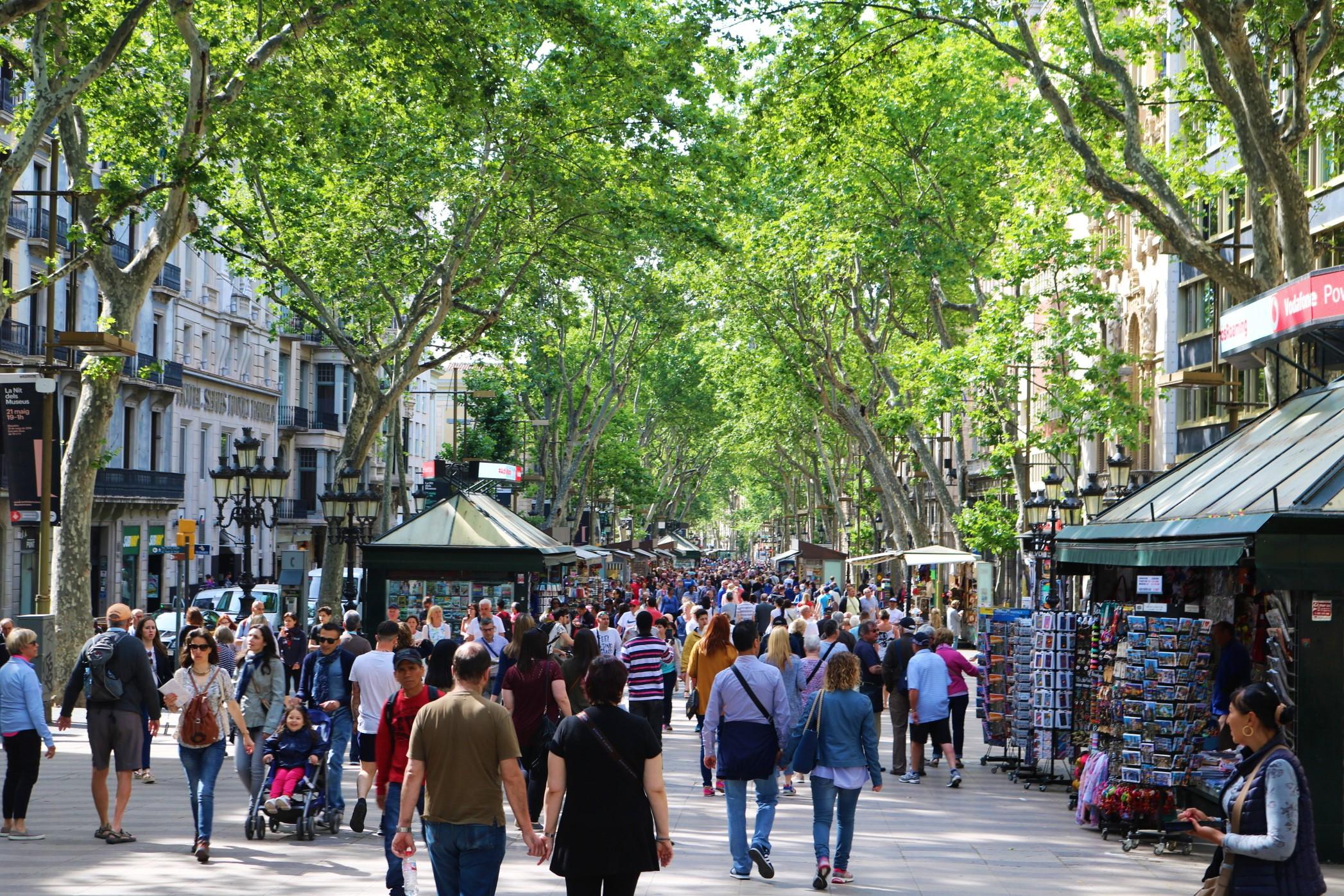 La famosa Rambla de Barcelona
