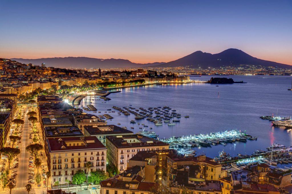 Panorama of Naples and Vesuvius volcano