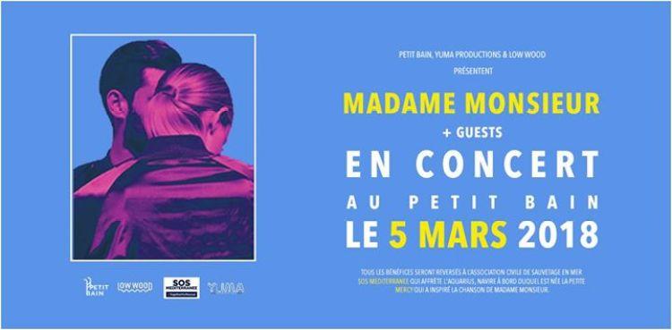 Affiche du concert de Madame Monsieur au Petit Bain le 5 mars 2018 + Guests