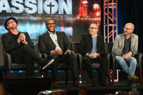 """(L-R) Executive Producer Adam Anders, Host/Narrator Tyler Perry, Executive Producer Mark Bracco and Executive Producer/Creator Jacco Doornbos speak onstage during """"The Passion"""" panel discussion at the FOX portion of the 2015 Winter TCA Tour at the Langham Huntington Hotel on January 15, 2016 in Pasadena, California"""