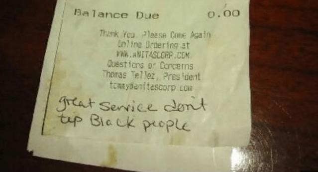 dont-tip-black-people note from racist customers