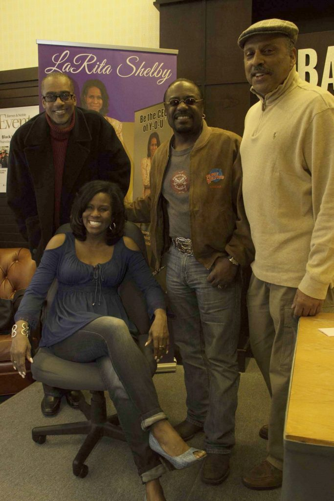 Bassist Michael Henderson, Actors Reginald T. Dorsey and Derek Thompson stopped by Barnes & Noble at The Grove (Los Angeles) to congratulate LaRita Shelby on her new book The Brand Beside The Brand. Photo credit: Curtis Sabir