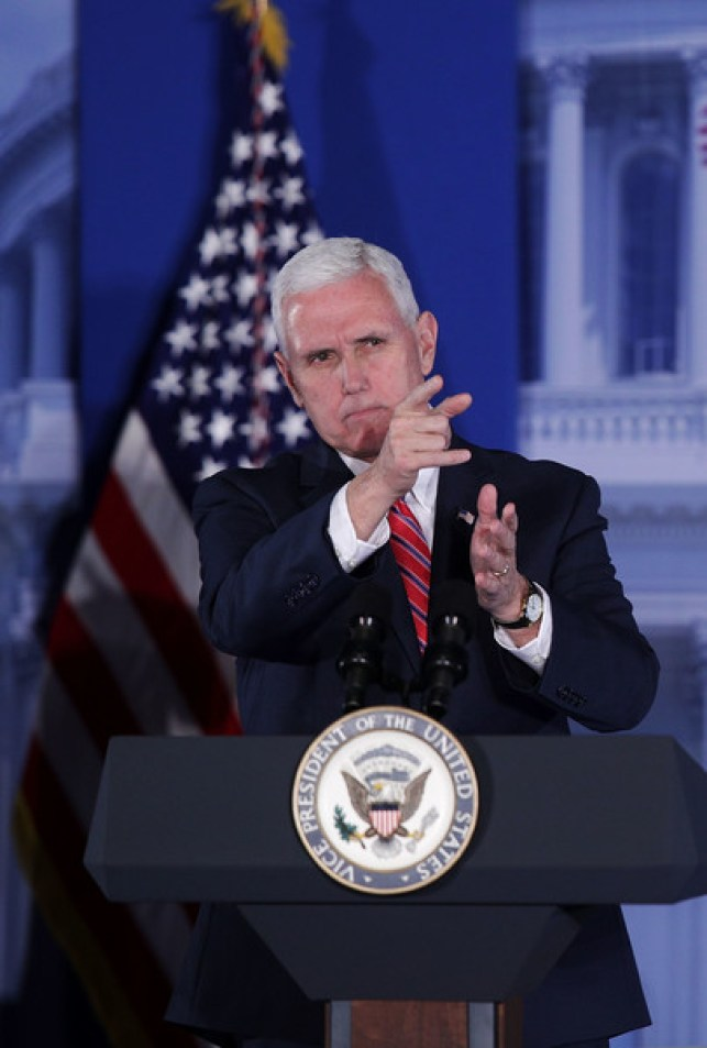 U.S. Vice President Mike Pence speaks to Republican Congressional Conference during the Congress of Tomorrow Republican Member Retreat January 26, 2017 in Philadelphia, Pennsylvania. Republican Congressional members gathered in Philadelphia to participate in the retreat.
