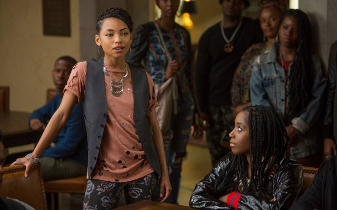 "Logan Browning, left, and Ashley Blaine Featherson in ""Dear White Peopl."" (Adam Rose/Netflix)"