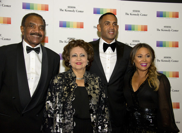 From left to right: Calvin Hill, wife Janet, Grant Hill and wife Tamia, arrive for the formal Artist's Dinner honoring the recipients of the 40th Annual Kennedy Center Honors hosted by United States Secretary of State Rex Tillerson at the US Department of State in Washington, D.C. on Saturday, December 2, 2017.