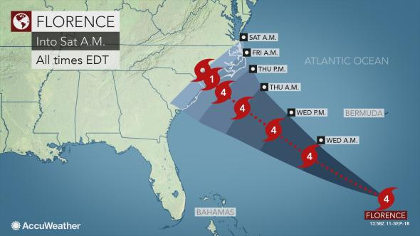 hurricane florence weather map
