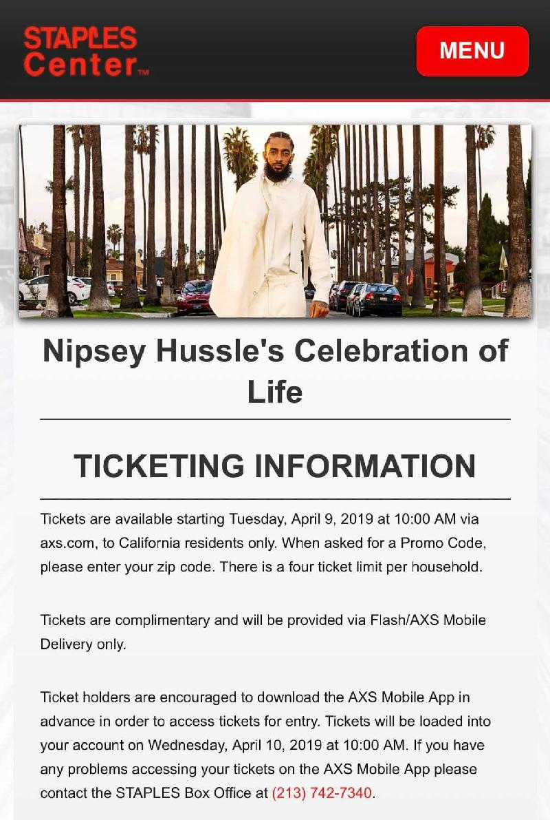 Nipsey Hussle celebration of life ticket info