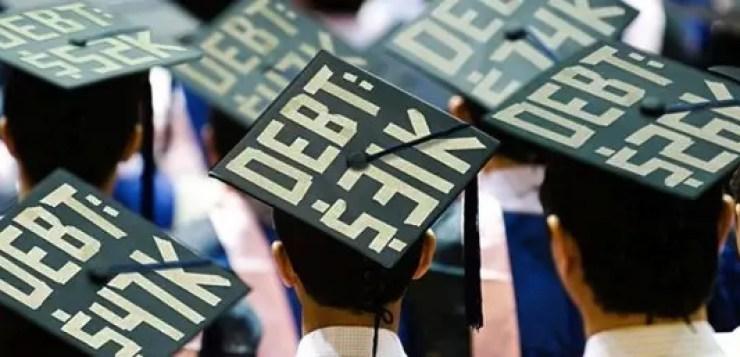 College Grad Student debt on Mortar Board