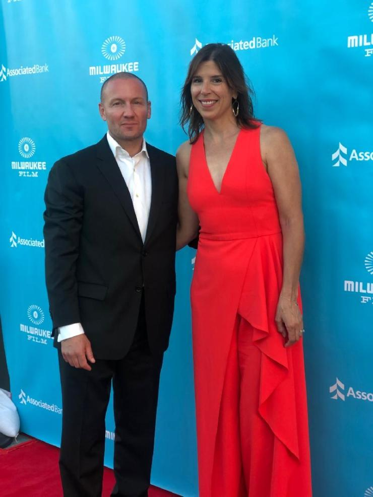 Kirill Mikhanovsky and Alice Austen at the 'Give Me Liberty' premiere in Beverly Hills