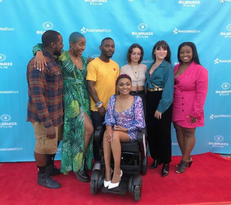 """Lauren """"Lolo"""" Spencer and her team at the 'Give Me Liberty' premiere in Beverly Hills"""
