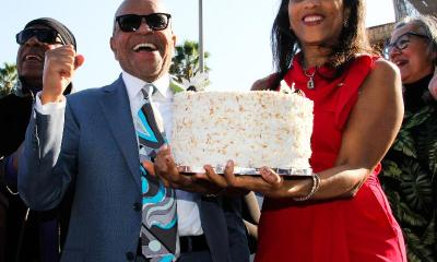 Berry Gordy Square - Berry Gordy & Karla Gordy Bristol presenting him b-day cake (Photo- Donna Dymally Photography)