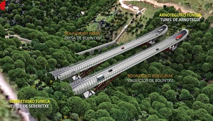Una innovadora solución permitirá construir los viaductos sobre el Bolintxu sin usar apoyos ni maquinaria en el valle,