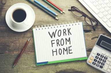 work from home written on note pad