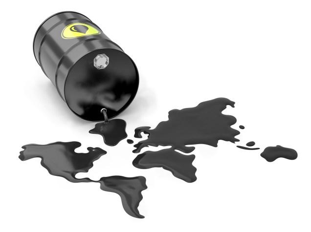 Oil barrel spilling oil to look like the global countries