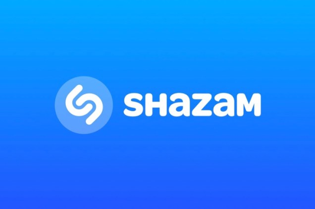 Shazam blue back ground white words of Shazam