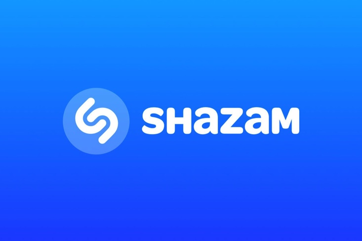 Shazam blue back ground white words of Shazam