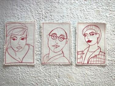 Ein_Linien_Portraits_Stoff, Garn