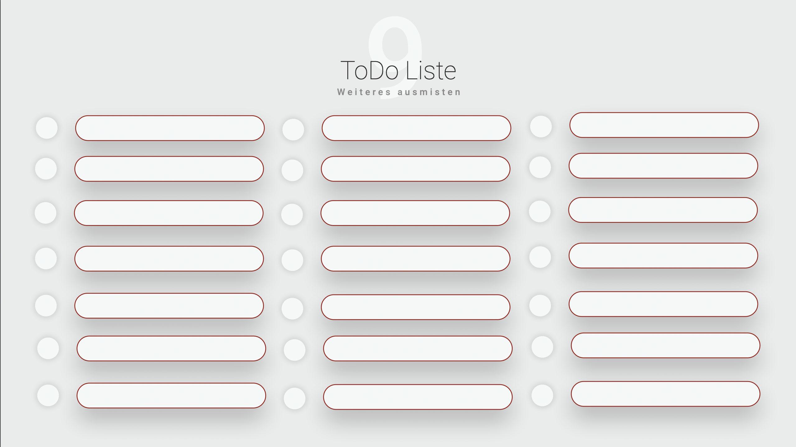 Ordnung im Eingangsbereich ToDo