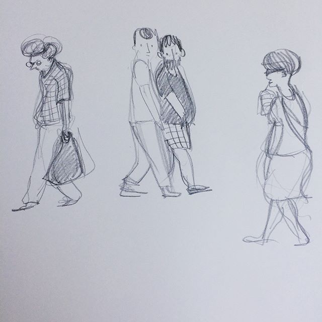 People passing by in sunny Cambridge during a little observational drawing break away from the desk #drawingfromobservation #drawingeveryday #pencildrawing #sketchbook #observingpeople