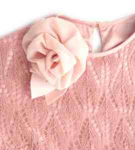 Abito lungo pizzo in lana rosa