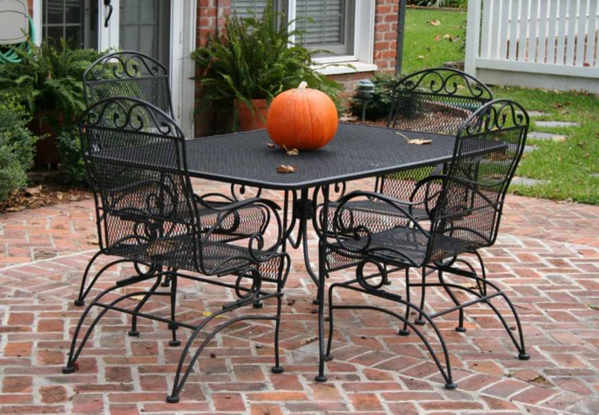 Cast Iron Patio Set Table Chairs Garden Furniture   EVA Furniture Rectangular Patio Set Table and Four Chairs