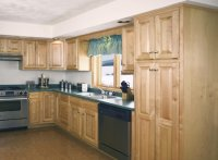 Sleek Unfinished Kitchen Cabinet with NAtural Texture Doors