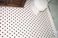 Hexagon Black and White Tile Bathroom Floor