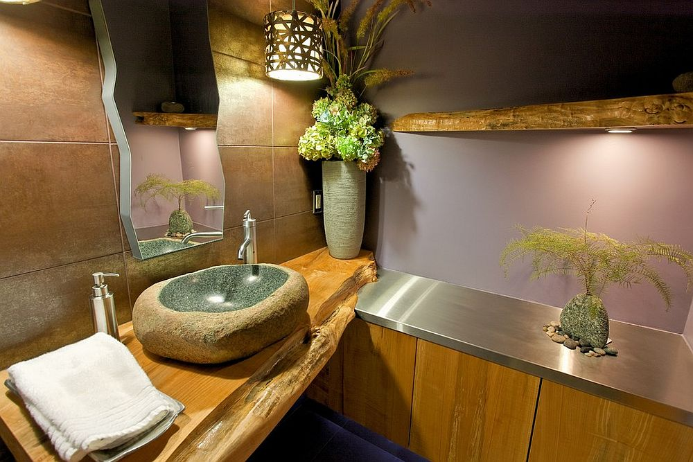 Natural Slab of Wood for Both Bathroom Shelves and Vanity