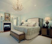 Light Blue and White Master Bedroom with Classic Flair Chandelier