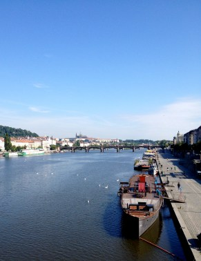 View from the railway bridge on a sunny morning