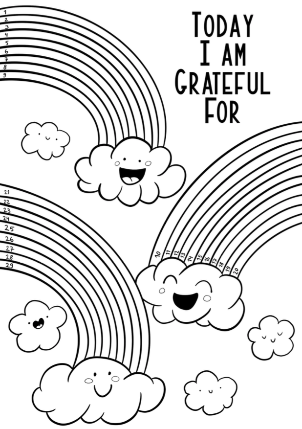 Free to download gratitude log with cute rainbows