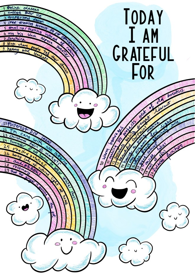 Free gratitude log with happy rainbows