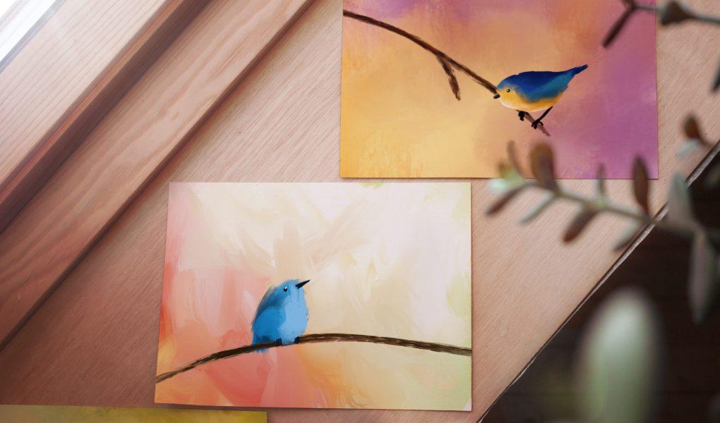 Bird cards on a windowsill