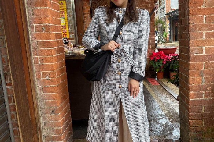 深坑老街 Lioness 千鳥格大衣穿搭+YSL niki baby 深藍色包包好價格