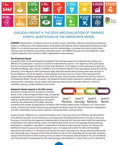 4: The SDGs and Evaluation of Training Events: Adaptation of the Kirkpatrick Model