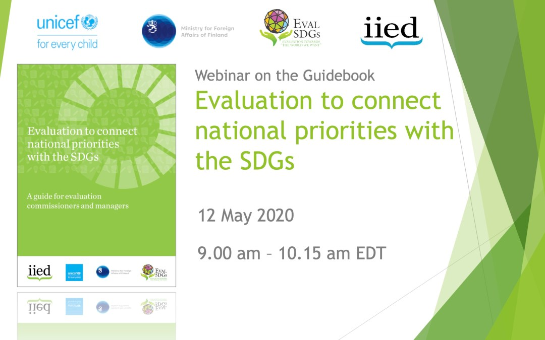 Webinar on Guidebook: Evaluation to connect national priorities with the SDGs: A guide for evaluation commissioners and managers