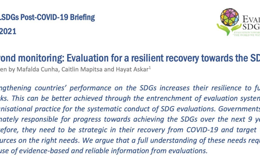 Briefing Paper: Beyond monitoring: Evaluation for a resilient recovery towards the SDGs