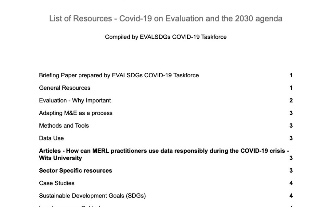 List of Resources: COVID-19 on Evaluation and the 2030 Agenda