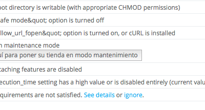 Caching features are disabled