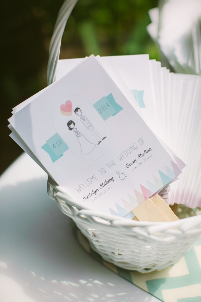 DIY wedding program fans - evanandkatelyn.com