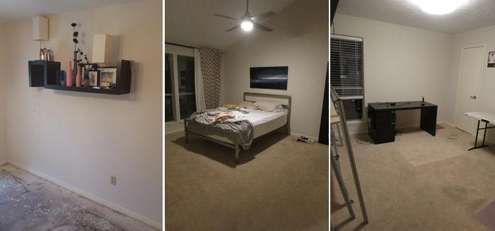 bedroom carpet tryptic empty