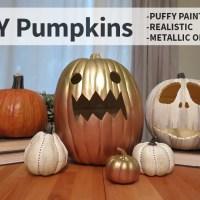 DIY Pumpkins, 3 Ways: Puffy Paint, Realistic, & Metallic Ombre