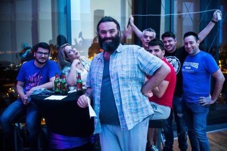 Never take a photo with Takis... @Top Of The Hub, Restaurant and Lounge (WordCamp Europe 2018) by Stephen McLeod Blythe
