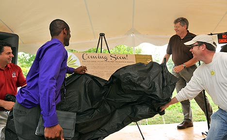 Announcement of pocket park at Cummins lot, with (left to right) UIndy President Rob Manuel, Uche Unogu, David Wantz, and David Forsell.