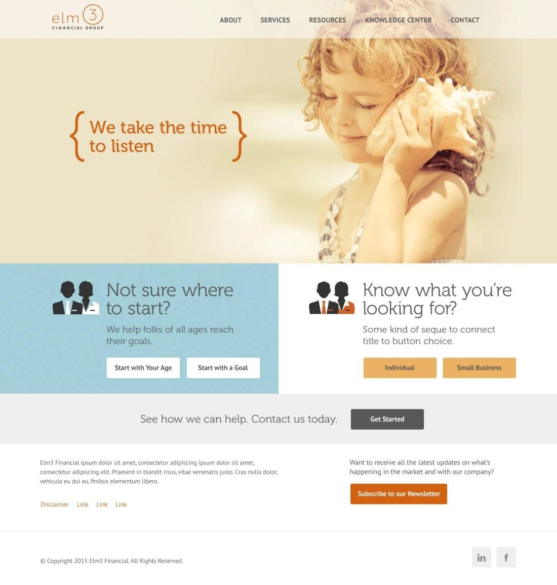 Alpharetta Small Business Accounting Firm Website Design - Elm3 Financial Services Website
