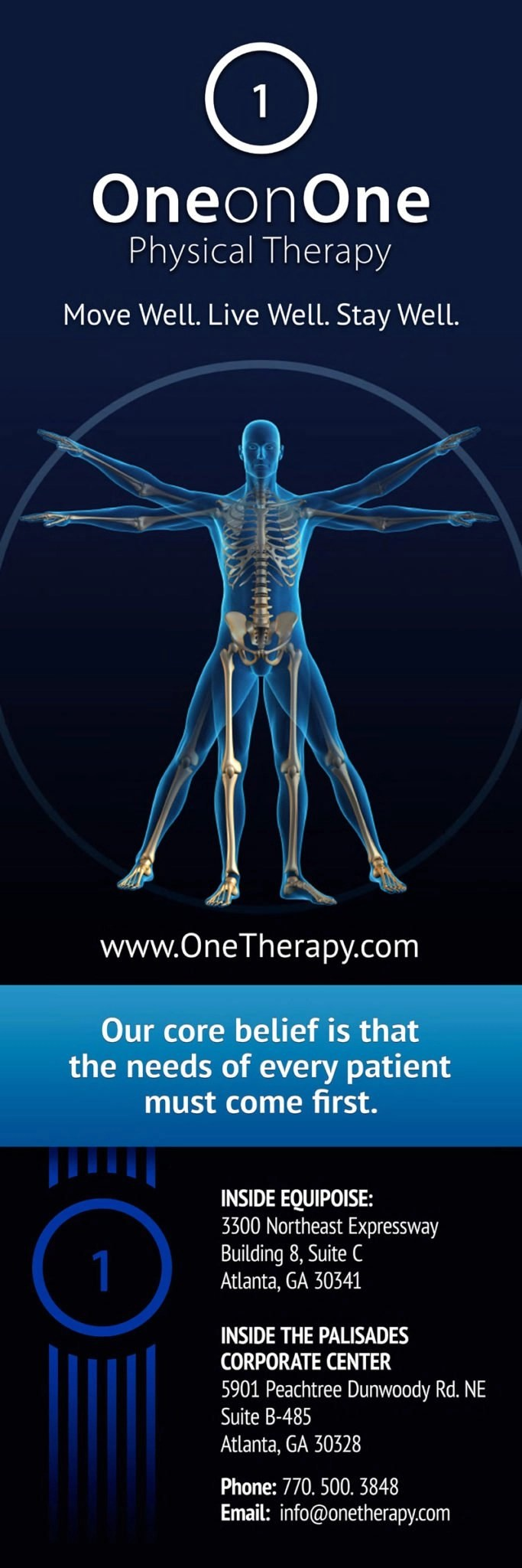 One on One Physical Therapy Pop-up Banner Design